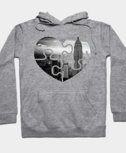 Abstract Puzzle Heart Design Hoodie