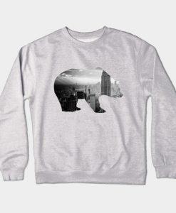 Abstract Bear Design Crewneck Sweatshirt