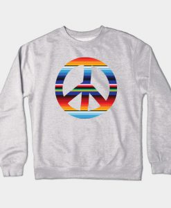 Abstract Peace Sign Design Crewneck Sweatshirt