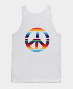 Abstract Peace Sign Design Tank Top